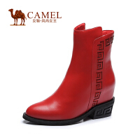 Camel/骆驼女鞋 时尚 牛皮圆头内增高侧拉链高跟女靴新款