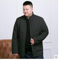 超大码男装春秋季中老年加肥加大男装商务夹克衫胖人肥佬纯色爸爸超大码外套