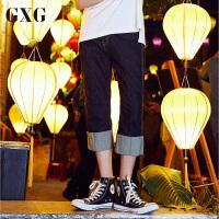 GXG男装 夏季男士青年时尚修身藏青色休闲牛仔七分裤