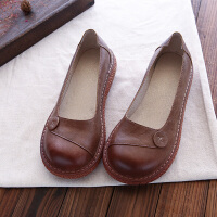 单鞋女森系文艺复古做旧大头娃娃鞋牛筋软底休闲百搭一脚蹬妈妈鞋 卡其色 大半码