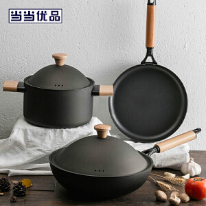古法工艺物理不粘精铁炒锅30cm