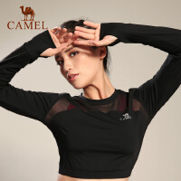 camel骆驼瑜伽女款短款长袖上衣 运动健身透气女瑜伽上衣