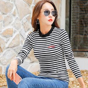 2017秋装新款女装上衣t恤韩版显瘦条纹长袖女t恤上衣体恤打底衫棉