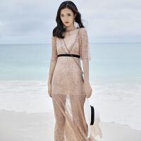 2018新款波西米亚沙滩裙海边度假泰国长裙碎花连衣裙仙女礼服 裸粉