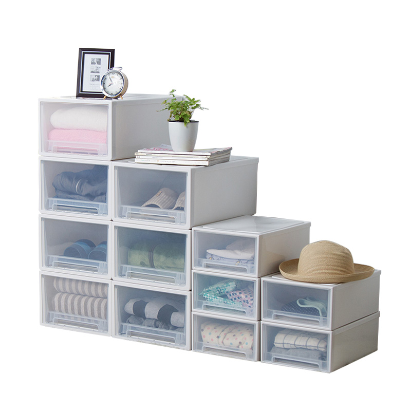 百露可叠加收纳柜整理柜收纳抽屉式衣柜宝宝塑料衣柜婴儿柜衣物整理箱收纳柜子收纳盒环保材质 可叠加 多款式