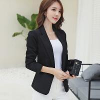 2018春秋韩版通勤小西装女士休闲显瘦长袖西服简约外套潮 黑色