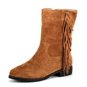 【3折到手价149.7元】菲伯丽尔Fondberyl牛皮圆头低跟拉链流苏深口女鞋FB44116937