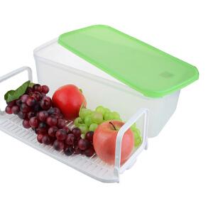 特百惠 果菜篮6L大容量保鲜储藏盒连滤筛格密封冷藏果蔬盒