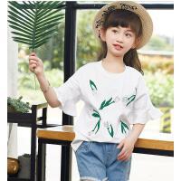 夏装新款童装女中大儿童上衣女童短袖T恤韩版花朵印花打底衫 可礼品卡支付