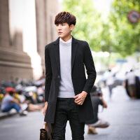 羊毛呢大衣男2018新款中长款韩版修身青年羊绒双面呢子外套男风衣QN-168811