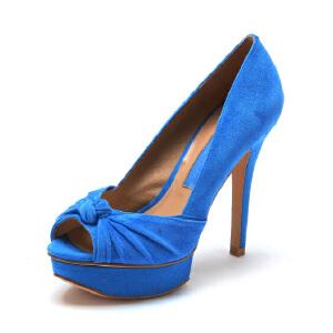 迪芙斯D:FUSE春季绒面羊皮革尖头超高跟鱼嘴单鞋女DF51112012