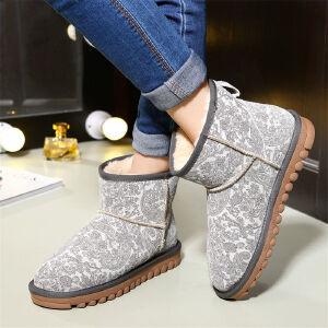 O'SHELL欧希尔新品107-5854Y韩版牛反皮女士雪地靴
