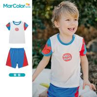 马卡乐童装2021年夏新款男童全棉多色短袖套装家居服