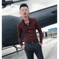 衬衫男学生秋季衬衫男士长袖韩版修身青年网红同款潮流衣服休闲条纹衬衣夜场