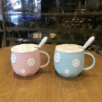 马克杯 带盖勺樱花大容量办公室早餐随手杯子可爱简约粉文艺学生早餐陶瓷大肚杯