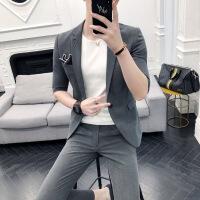 中袖小西装男帅气半袖韩版修身外套发型师七分袖西服套装薄款