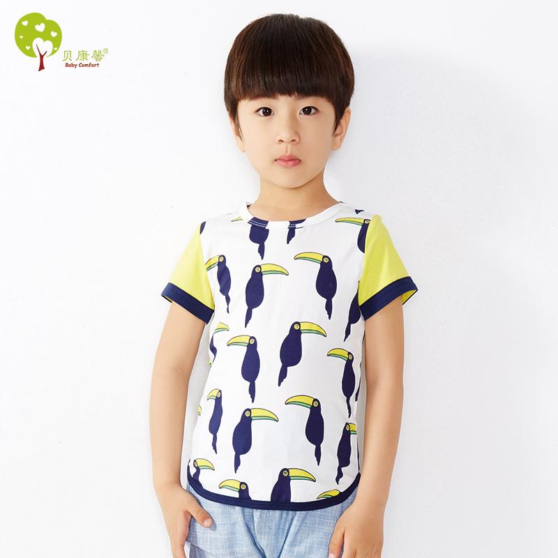 【当当自营】贝康馨童装 儿童小鸟纯棉T恤 韩版卡通男童短袖童t恤 支持货到付款