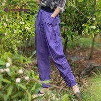 生活在左2019春夏女装新款紫色百搭休闲裤子新品潮流女士骑兵裤