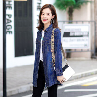 新款优雅修身女衬衫秋季韩版时尚新款牛仔衬衫女长袖翻领显瘦中长款修身大码打底外套 u0 蓝色