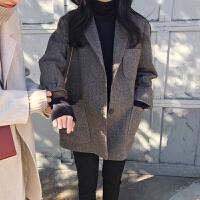2018秋冬宽松显瘦chic加厚西服韩国复古格子羊毛呢小西装外套女短外套两件套气大王老板职业女装英伦