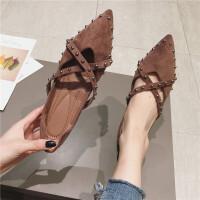 平底鞋复古风铆钉交叉带镂空尖头平跟单鞋软底浅口百搭韩版女鞋潮