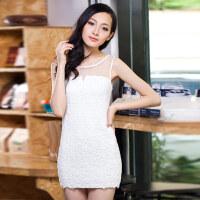 特尚莱菲  夏季女装新款 欧根纱蕾丝拼接性感蕾丝吊带背心连衣裙 FS3054