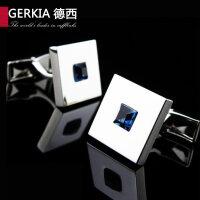 水晶法式男士新款捷克衬衫袖扣G67636764 蓝水晶