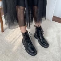 欧美街拍复古款圆头绑带厚底帅气马丁靴短靴女靴秋冬机车靴