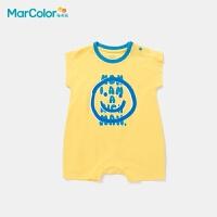 马卡乐童装2021夏季新款婴童时尚笑脸印花全棉肩开扣连体服