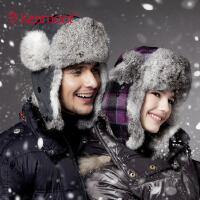 kenmont卡蒙 冬季帽子 防风兔毛雷锋帽 超保暖男女帽2131