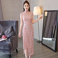粉色少女蕾丝旗袍长款修身淑女气质改良刺绣2017新款连衣裙时尚女 粉色