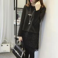 假两件打底衫女长袖秋季韩版女装大码小衫宽松上衣中长款蕾丝t恤