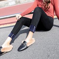暖姿语港风味加绒牛仔裤高腰冬季新款小脚裤显瘦弹力裤加厚女