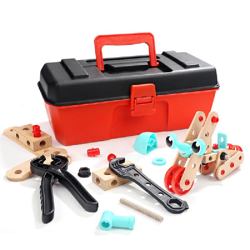 特宝儿 男孩儿童螺母拆装工具箱儿童动手益智木质玩具3-4-6岁男宝宝组合拆卸组装玩具120390 百变螺母 职业体验