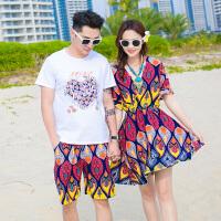 情侣装沙滩海边大码套装新款女裙子波西米亚连衣裙潮