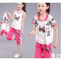 女大童三件套女孩童装女童户外新款休闲百搭儿童运动套装短袖韩版时尚