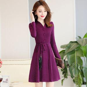 新款连衣裙女时尚大气女装中长款秋冬款长袖连衣裙女