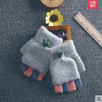韩版可爱女士手套秋冬季学生情侣半指加厚保暖露指翻盖半截手套