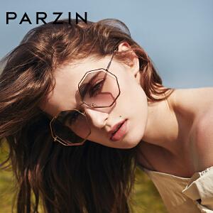 帕森2018春夏新品 时尚太阳镜女镂空金属多边形眼镜渐变墨镜91501