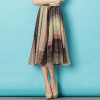 特尚莱菲 夏装新款女装雪纺半身裙松紧橡筋波点印花中长裙 BHF8531