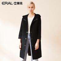 ERAL/艾莱依2018秋冬新款女装双面呢大衣连帽羊毛风衣女617073004