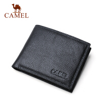CAMEL骆驼钱包 两折短款男钱包 商务男士 荔枝纹牛皮