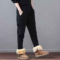 冬季加绒加厚保暖卫裤宽松大码灯笼哈伦裤休闲裤女小脚长裤
