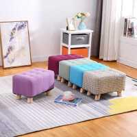 小凳子家用布艺沙发凳懒人垫脚凳客厅换鞋凳子实木长板凳创意矮凳