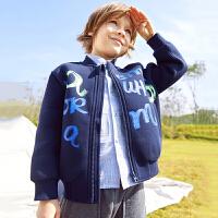 【2件3折价:179.7元】马拉丁童装男童外套春装新款图案休闲宽松儿童棒球服外套潮