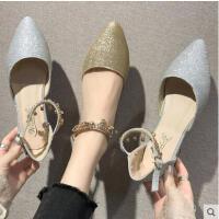 高跟鞋女百搭潮款新款韩版尖头一字扣带凉鞋仙女风粗跟单鞋潮