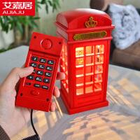 艾嘉居英伦风复古电话亭充电台灯 触摸调光夜灯 时尚LED欧式电话台灯 新奇创意生日礼物