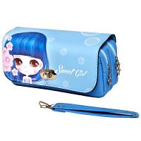 绍泽文化 BD-22082简约创意大容量帆布笔袋-甜心女孩 儿童学生铅笔袋/文具盒 蓝色 当当自营