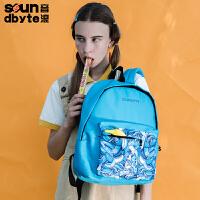 【支持礼品卡支付】soundbyte韩版中学生书包男女学院风蓝色印花休闲书包
