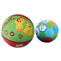 【当当自营】费雪(Fisher Price)儿童玩具球二合一 (7寸篮球长颈鹿+儿童足球13cm 赠送打气筒)